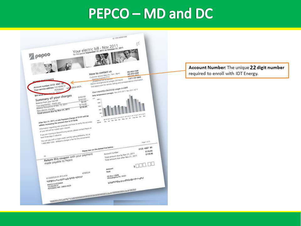 PEPCO Sample Bill | IDT Energy